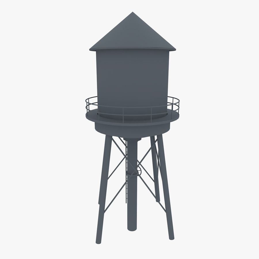 Water Tower (weathered) royalty-free 3d model - Preview no. 12