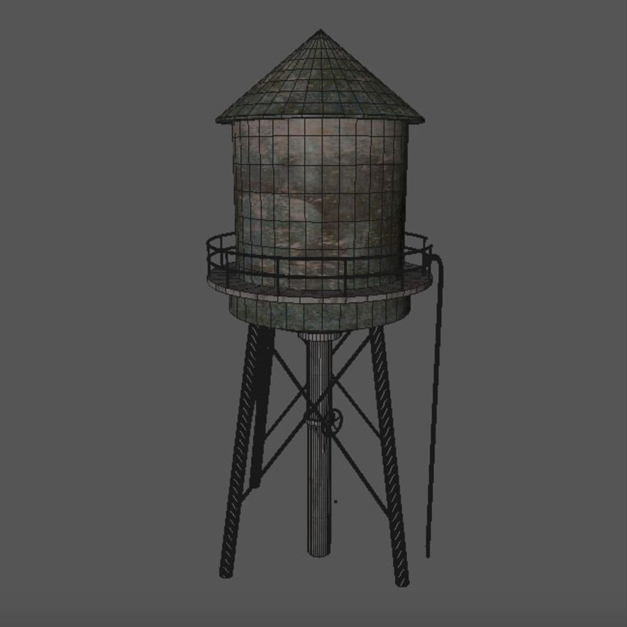 Water Tower (weathered) royalty-free 3d model - Preview no. 16