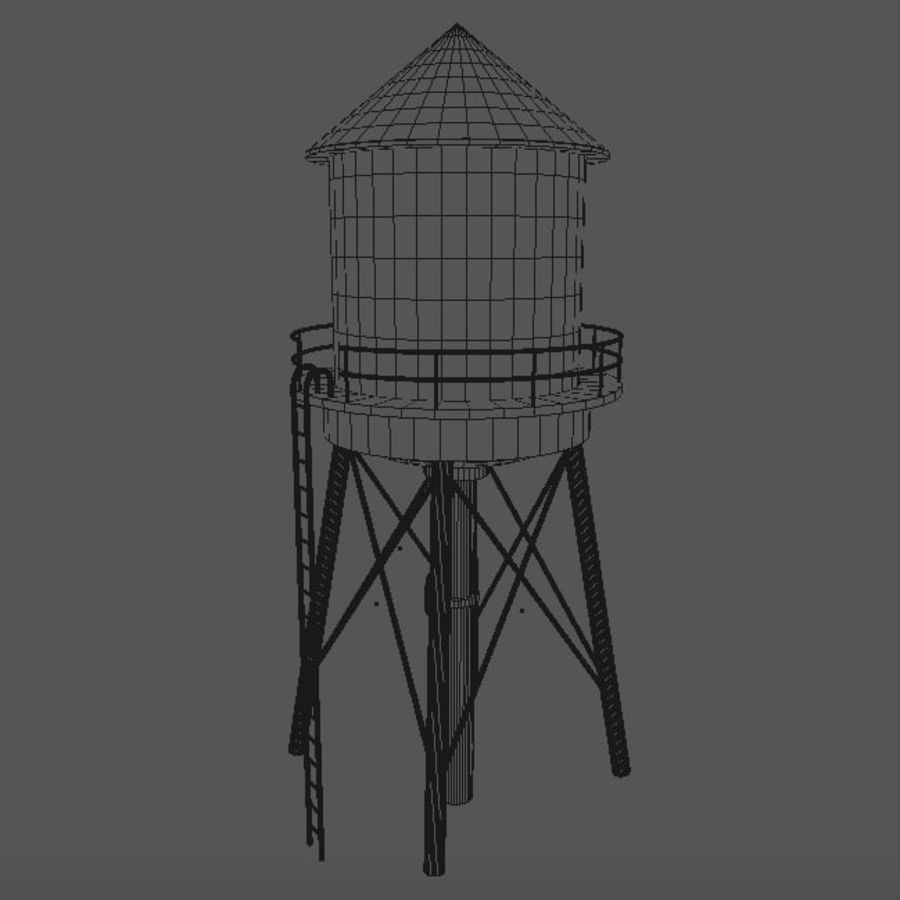 Water Tower (weathered) royalty-free 3d model - Preview no. 11