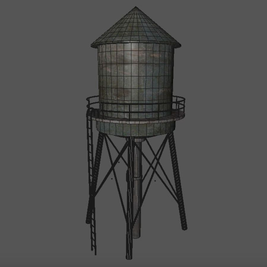Water Tower (weathered) royalty-free 3d model - Preview no. 10