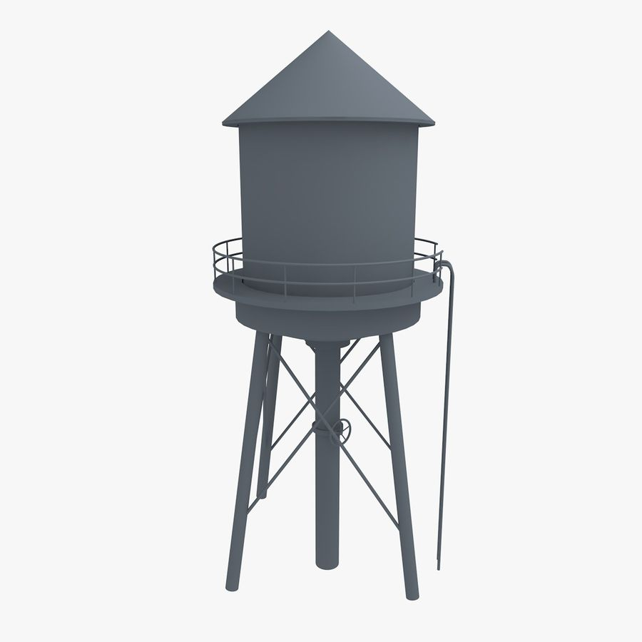 Water Tower (weathered) royalty-free 3d model - Preview no. 15
