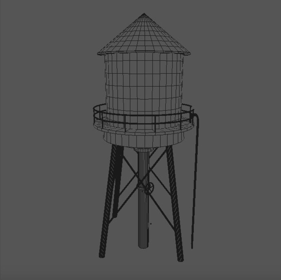 Water Tower (weathered) royalty-free 3d model - Preview no. 17