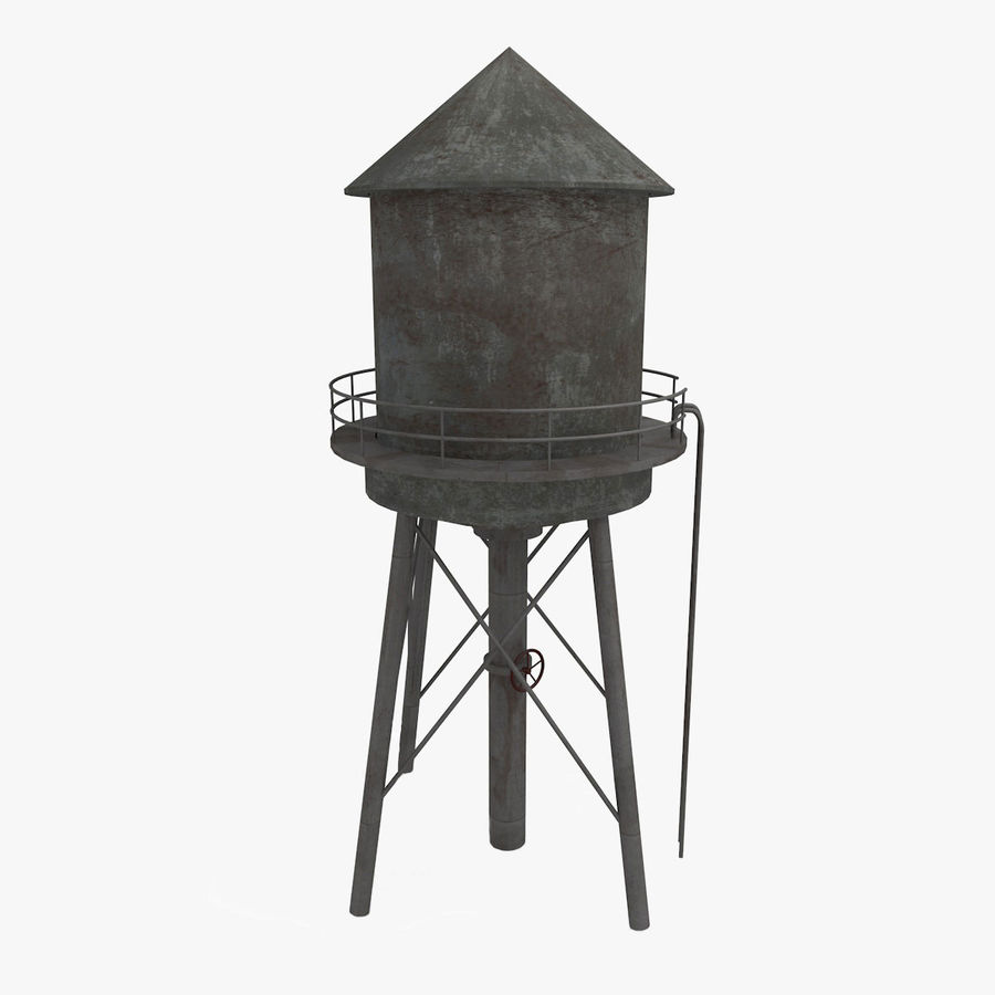 Water Tower (weathered) royalty-free 3d model - Preview no. 4