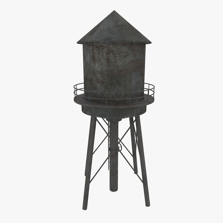 Water Tower (weathered) royalty-free 3d model - Preview no. 3