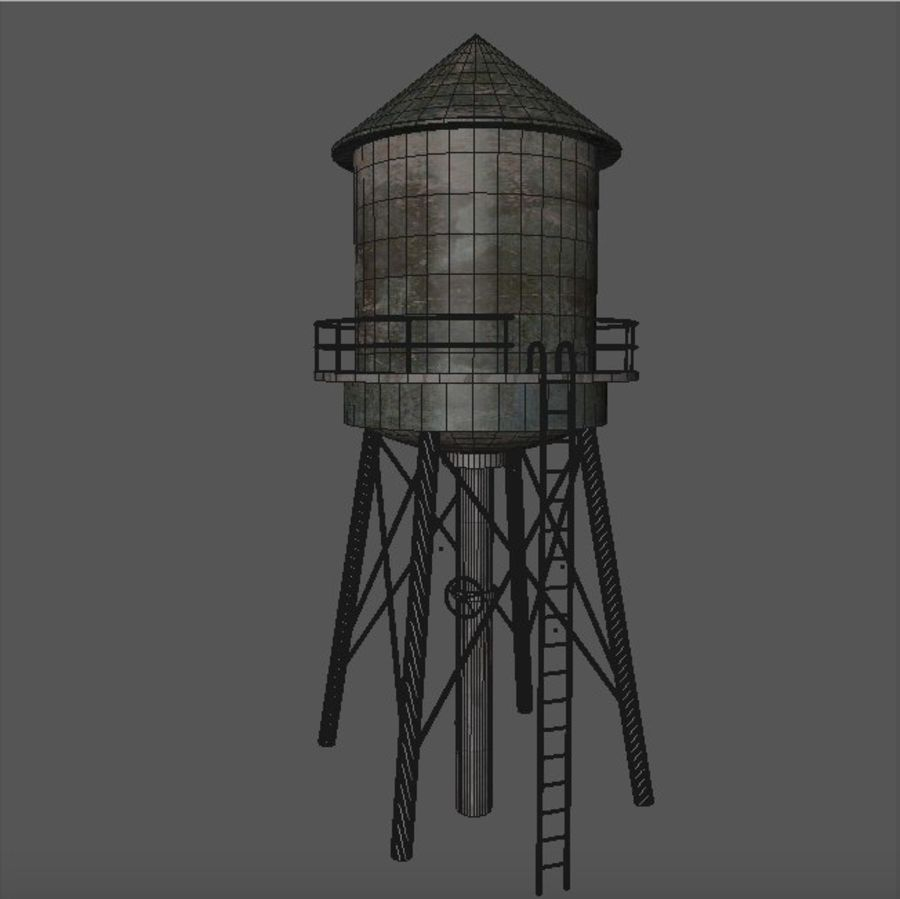 Water Tower (weathered) royalty-free 3d model - Preview no. 7