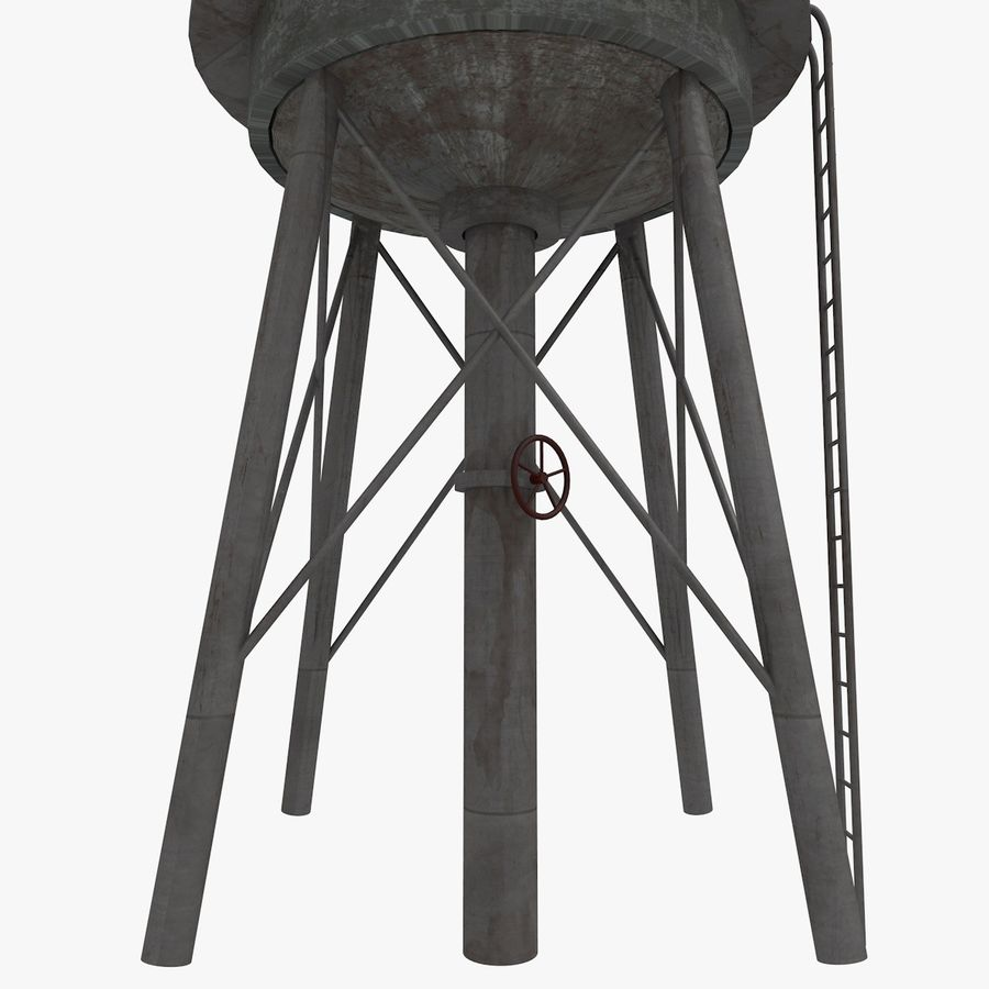 Water Tower (weathered) royalty-free 3d model - Preview no. 5