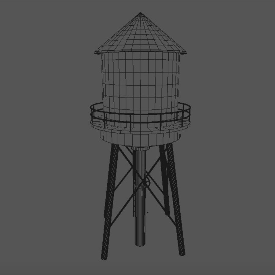 Water Tower (weathered) royalty-free 3d model - Preview no. 14