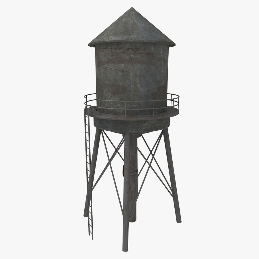 Water Tower (weathered) royalty-free 3d model - Preview no. 2