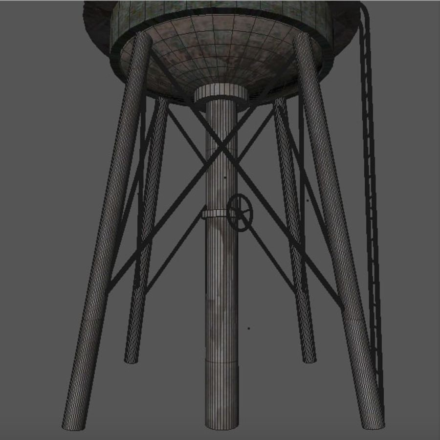 Water Tower (weathered) royalty-free 3d model - Preview no. 19