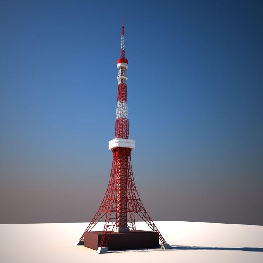 Токийская Башня Низкая поли royalty-free 3d model - Preview no. 1