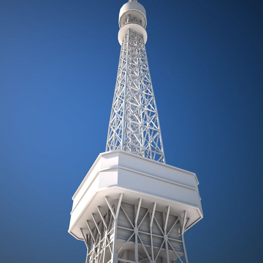Tokyo Tower Low poly royalty-free 3d model - Preview no. 7
