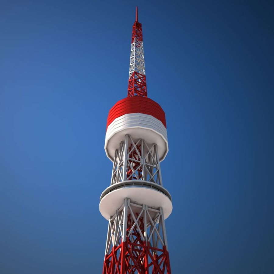 Tokyo Tower Low poly royalty-free 3d model - Preview no. 8