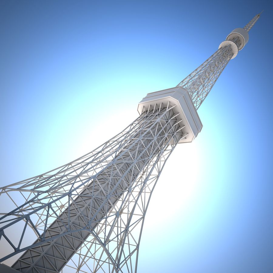 Tokyo Tower Low poly royalty-free 3d model - Preview no. 4