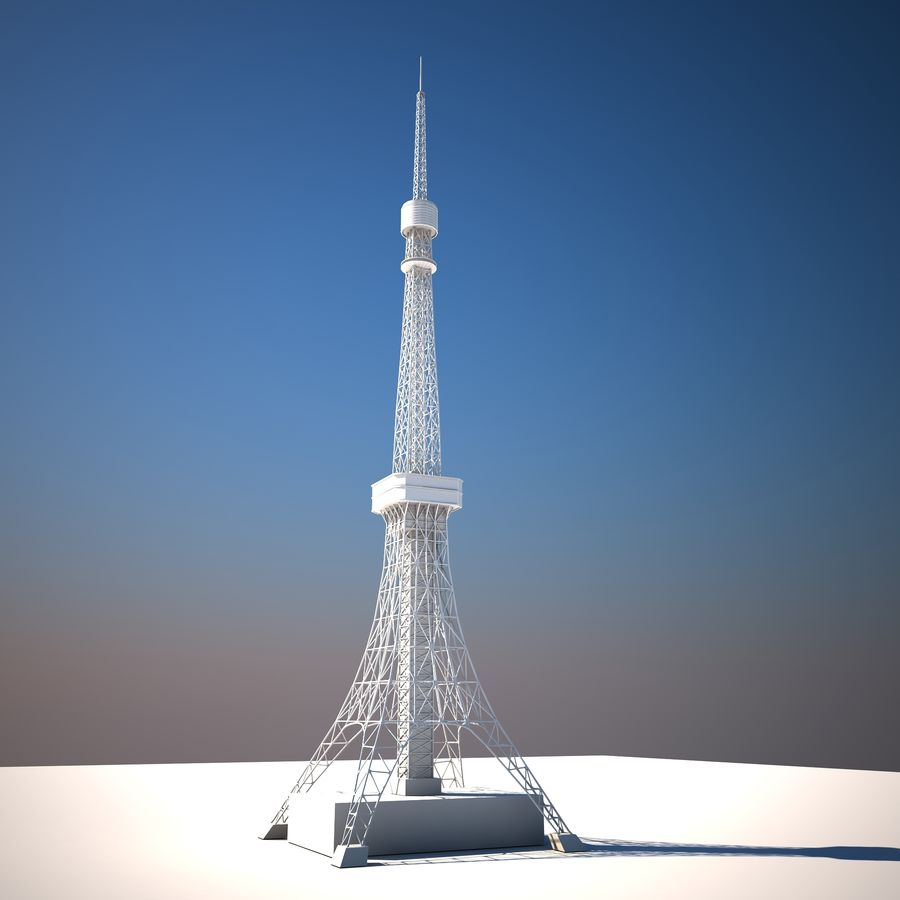 Tokyo Tower Low poly royalty-free 3d model - Preview no. 2