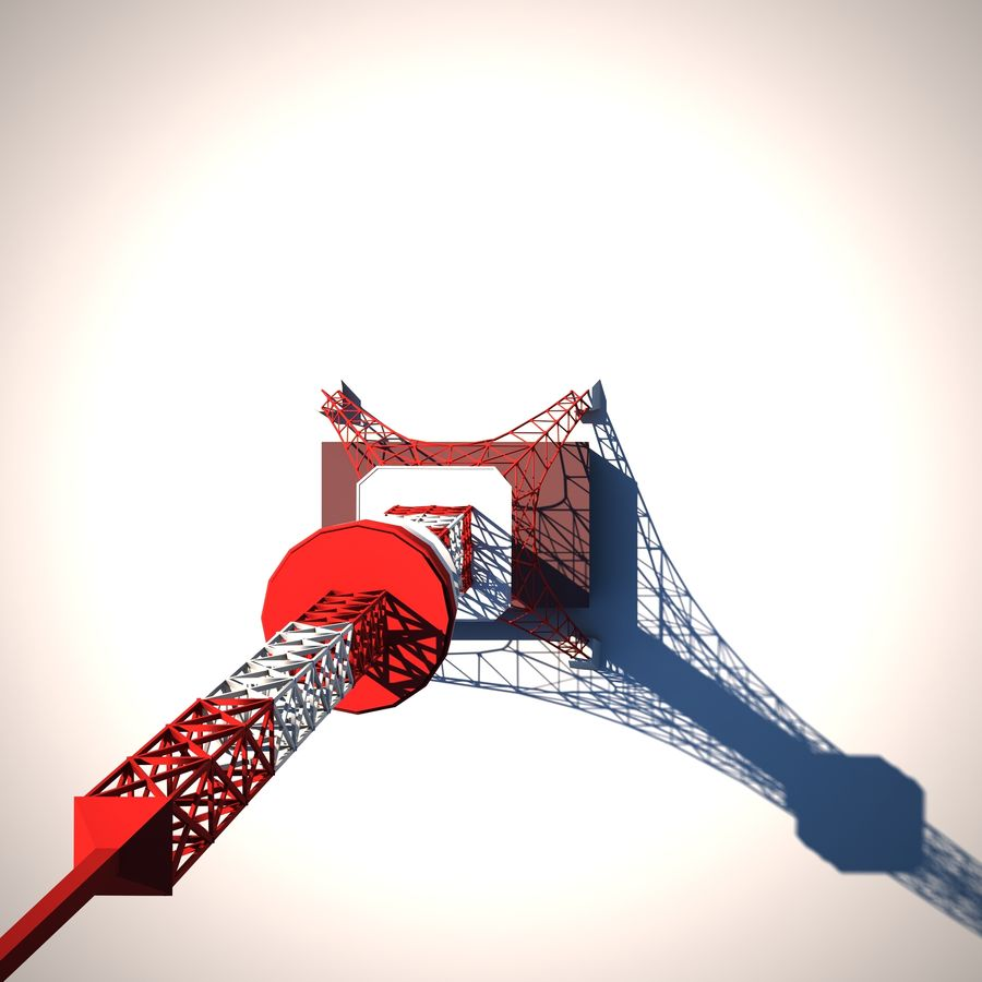 Tokyo Tower Low poly royalty-free 3d model - Preview no. 5