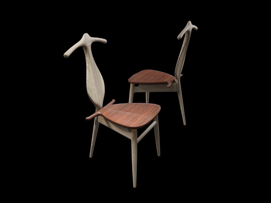 Hans-J-Wegner-valet-chair royalty-free 3d model - Preview no. 3