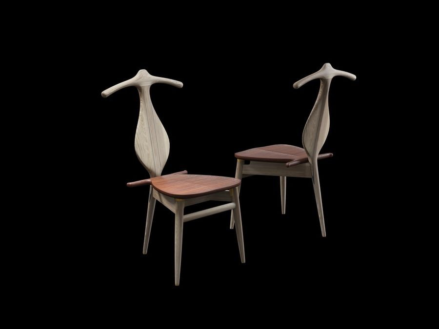 Hans-J-Wegner-valet-chair royalty-free 3d model - Preview no. 2