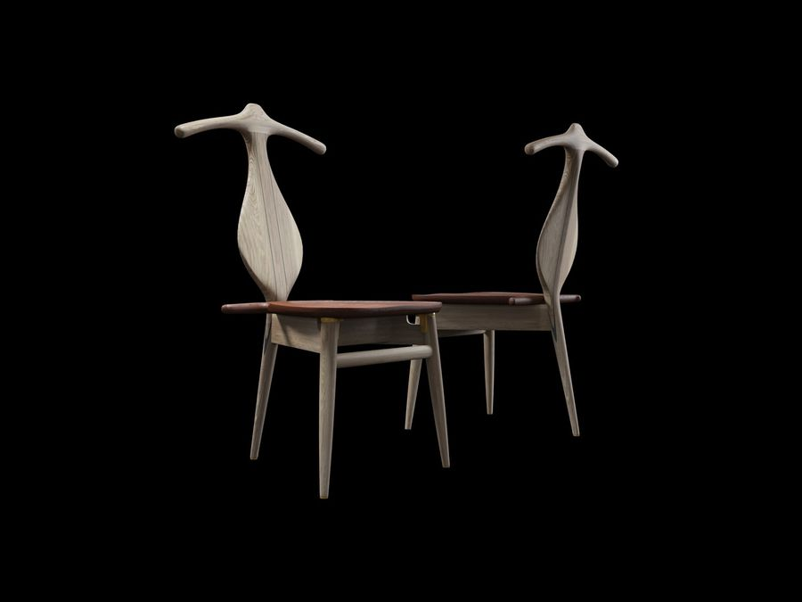 Hans-J-Wegner-valet-chair royalty-free 3d model - Preview no. 8