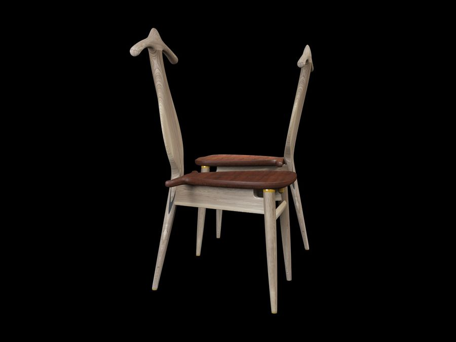 Hans-J-Wegner-valet-chair royalty-free 3d model - Preview no. 4
