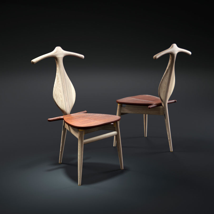 Hans-J-Wegner-valet-chair royalty-free 3d model - Preview no. 1