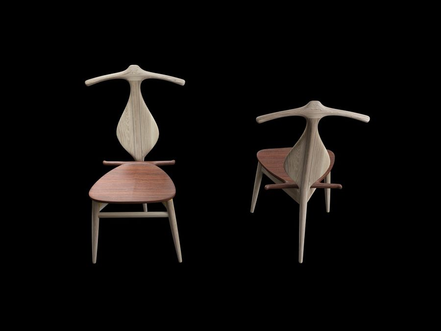 Hans-J-Wegner-valet-chair royalty-free 3d model - Preview no. 5