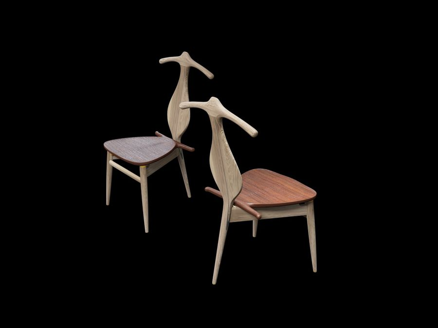 Hans-J-Wegner-valet-chair royalty-free 3d model - Preview no. 7