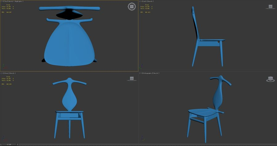 Hans-J-Wegner-valet-chair royalty-free 3d model - Preview no. 9