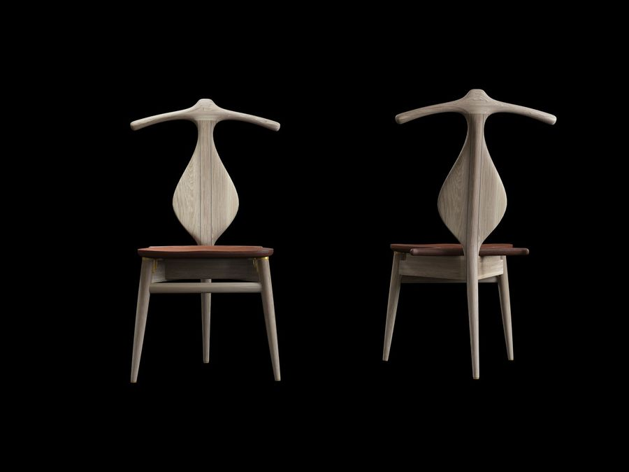 Hans-J-Wegner-valet-chair royalty-free 3d model - Preview no. 6