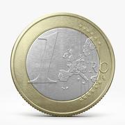 Moneda de un euro modelo 3d