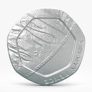 20 펜스 동전 3d model