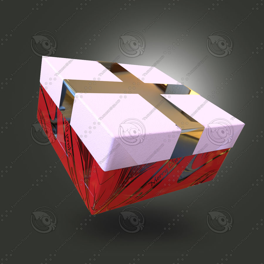 Rote Geschenkbox royalty-free 3d model - Preview no. 2