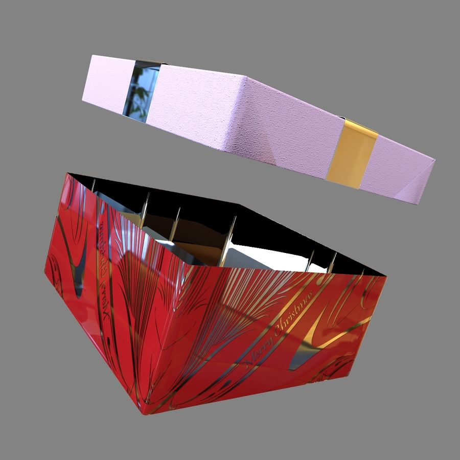 Rote Geschenkbox royalty-free 3d model - Preview no. 8