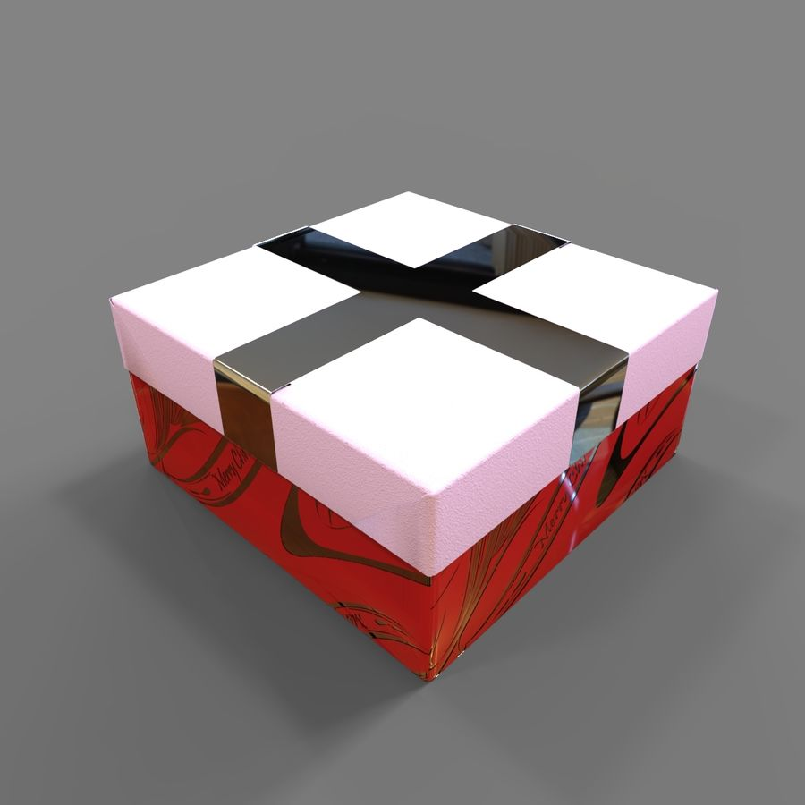 Rote Geschenkbox royalty-free 3d model - Preview no. 3