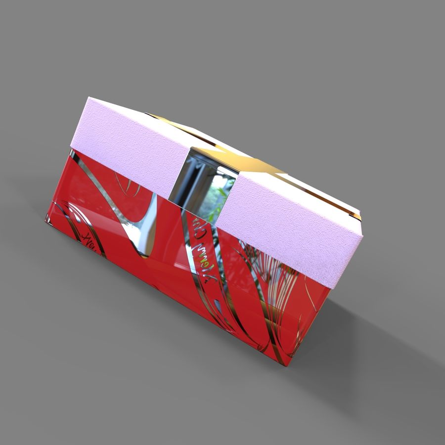 Rote Geschenkbox royalty-free 3d model - Preview no. 6