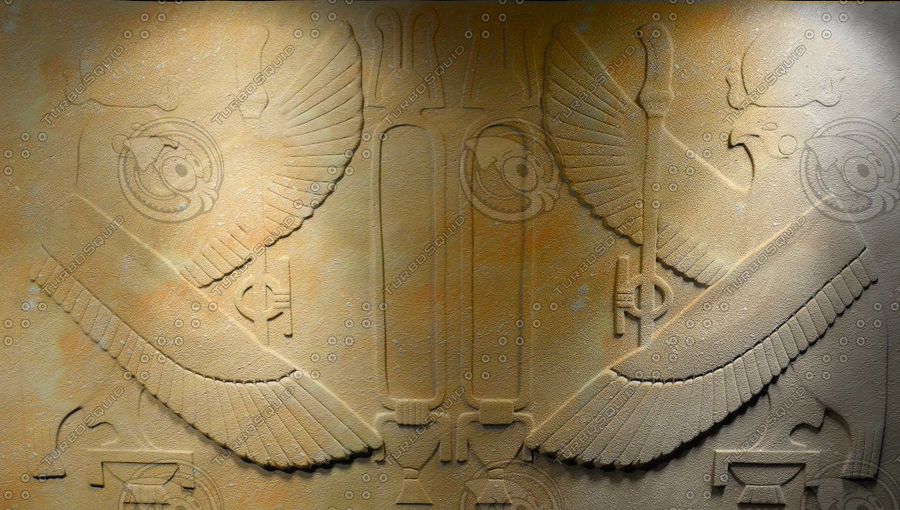 Egyptian bas-relief royalty-free 3d model - Preview no. 1