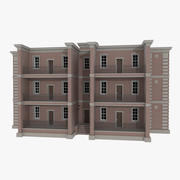 Brick apartment six with interior textured 3d model