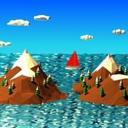 Escena de paisaje de baja poli de dibujos animados modelo 3d