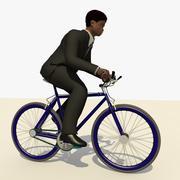 애니메이션 자전거를 타고 검은 양복을 가진 남자 3d model