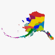 Карта округа - Аляска 3d model