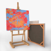 easel and canvases 3d model