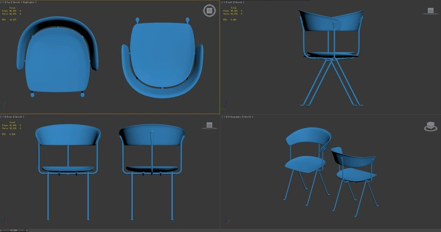 Officina sandalyesi royalty-free 3d model - Preview no. 9
