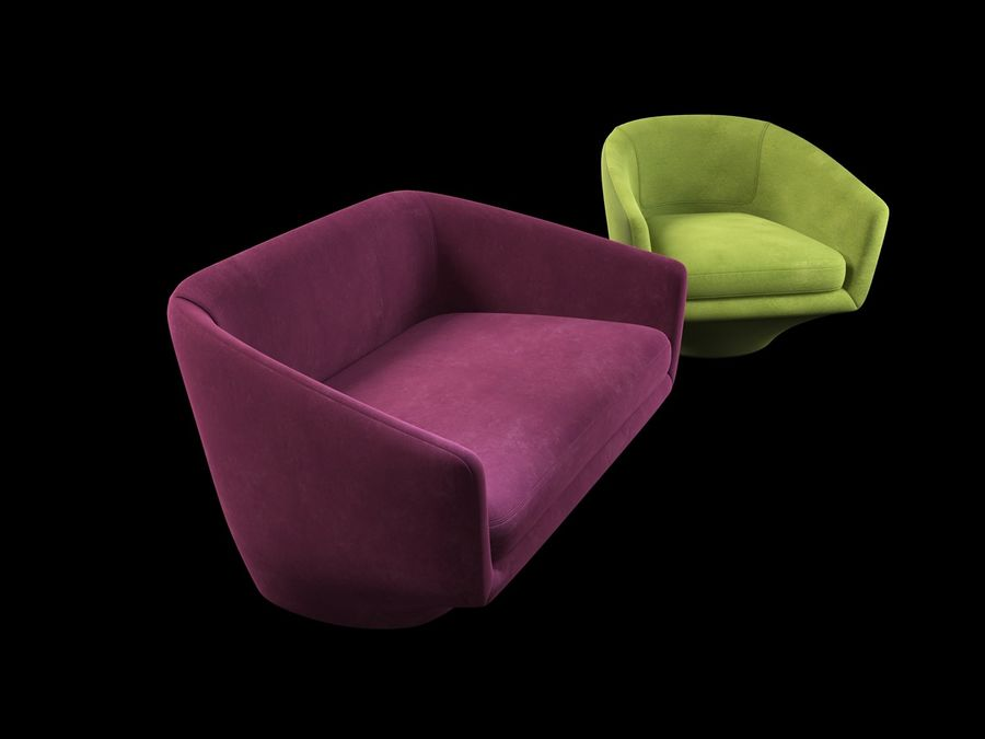 Sofa U royalty-free 3d model - Preview no. 3