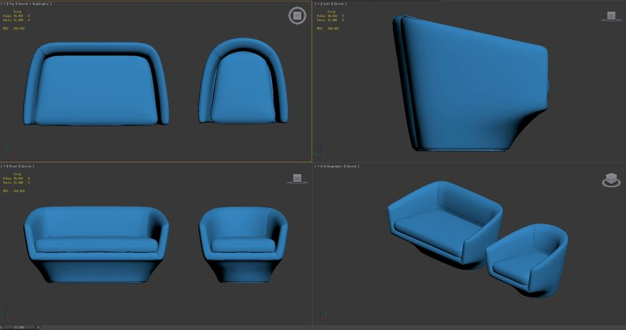 Sofa U royalty-free 3d model - Preview no. 9