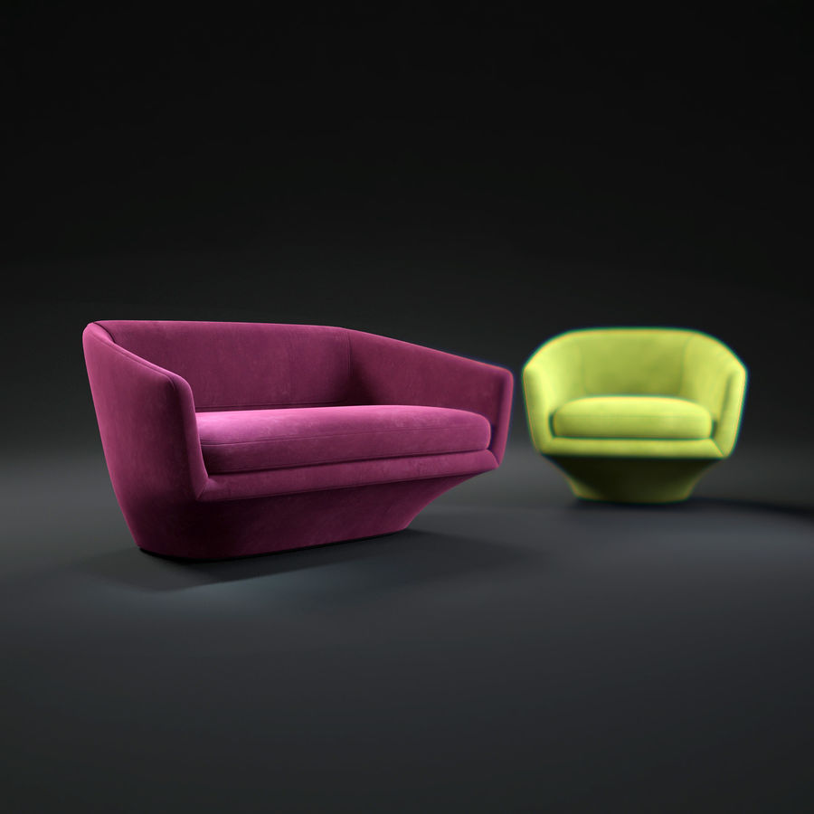 Sofa U royalty-free 3d model - Preview no. 1