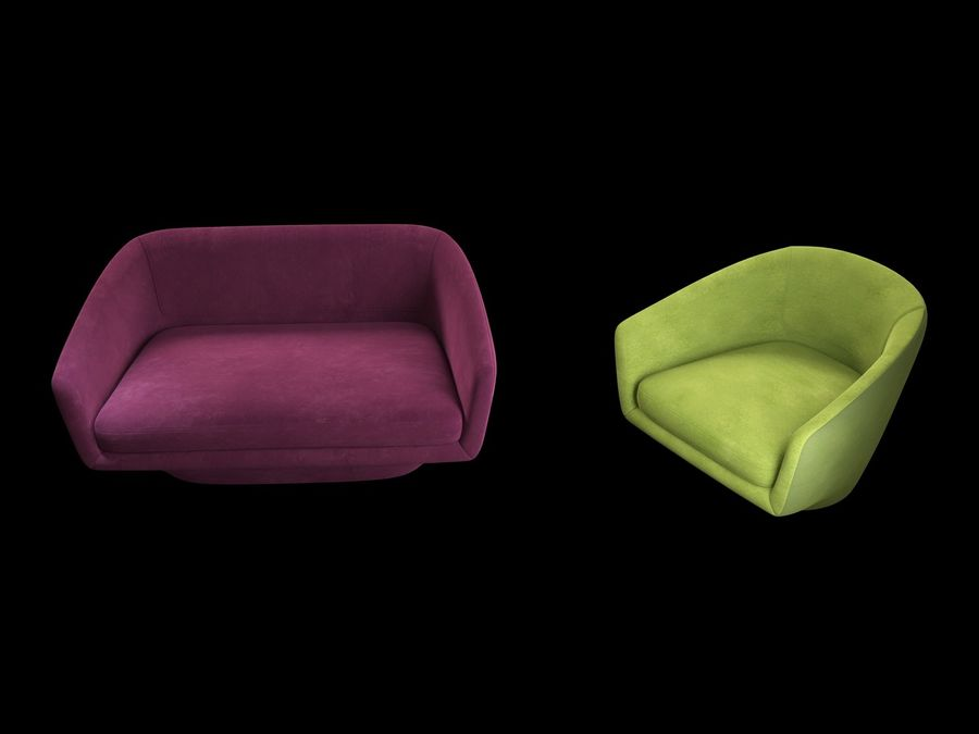 Sofa U royalty-free 3d model - Preview no. 5