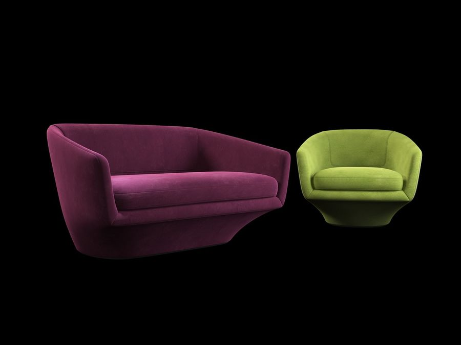 Sofa U royalty-free 3d model - Preview no. 2