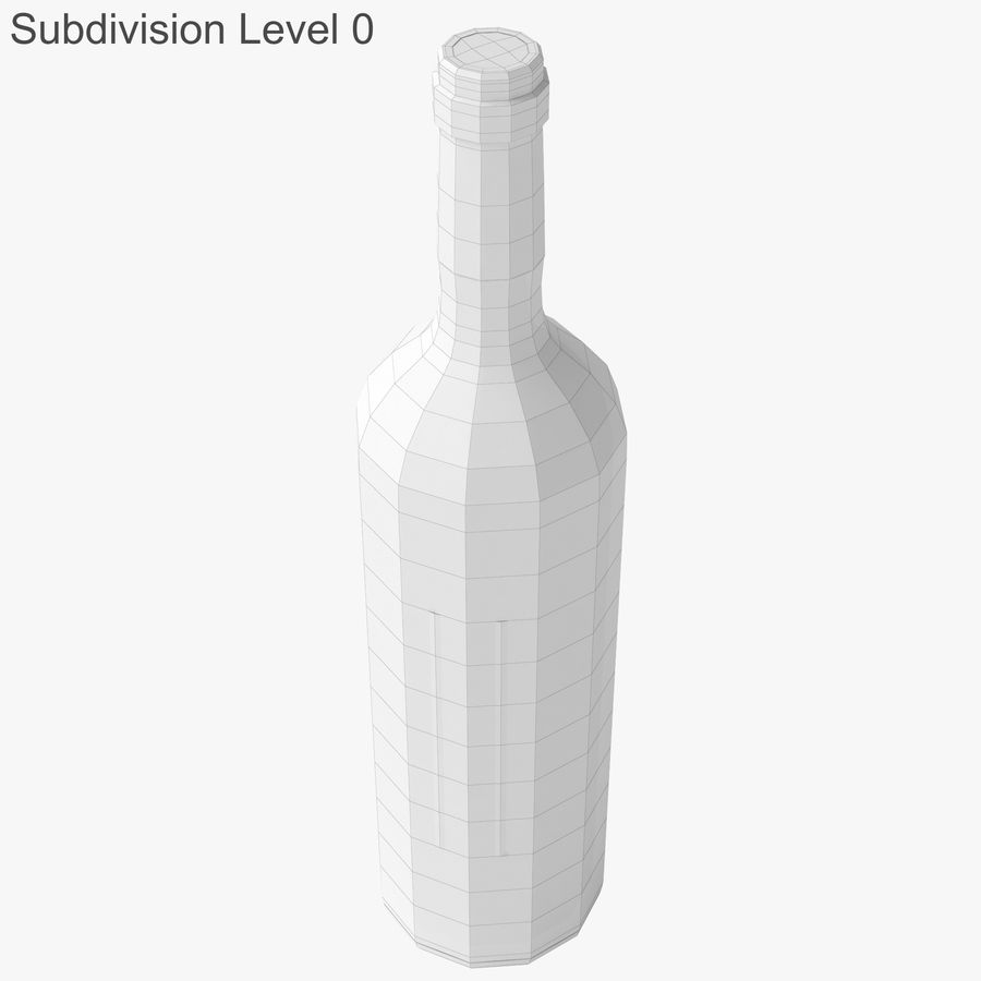 wine bottle red wine royalty-free 3d model - Preview no. 24