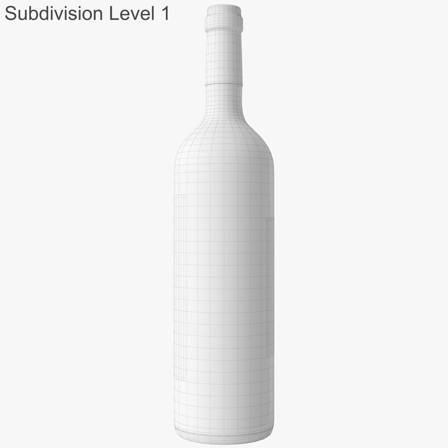 wine bottle red wine royalty-free 3d model - Preview no. 47