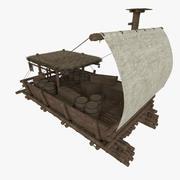 Catamaran marchand médiéval texturé 3d model