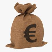 Torba na pieniądze 2 model 3D Euro 3d model